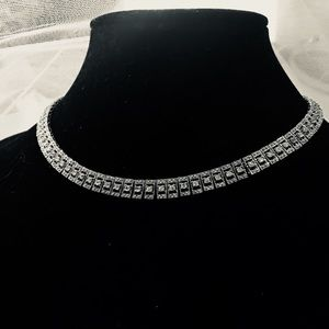 Luxury Sterling Silver Sparkly CZ Collar Necklace
